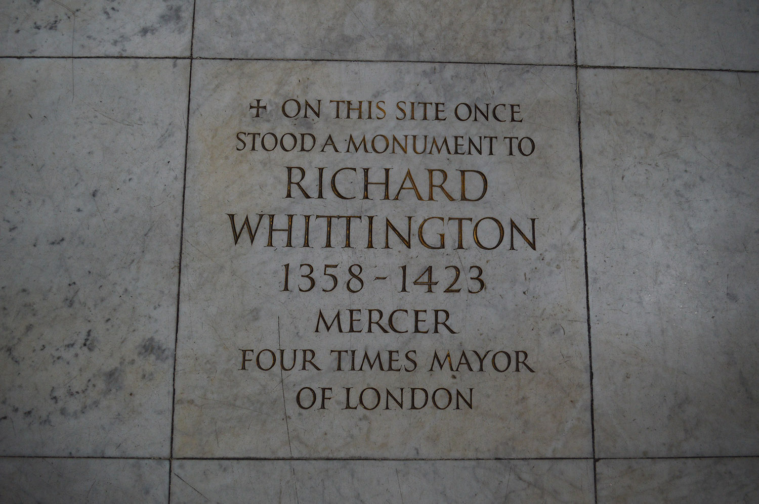 A floorstone marking the site of the tomb of Richard 'Dick' Whittington at St Michael Paternoster Royal