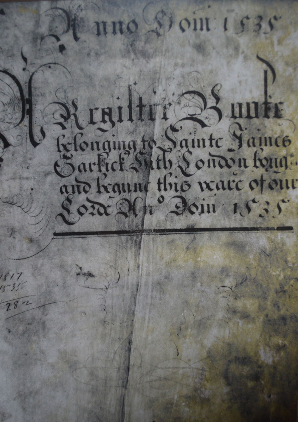 Close-up of a page of the oldest baptism register in England