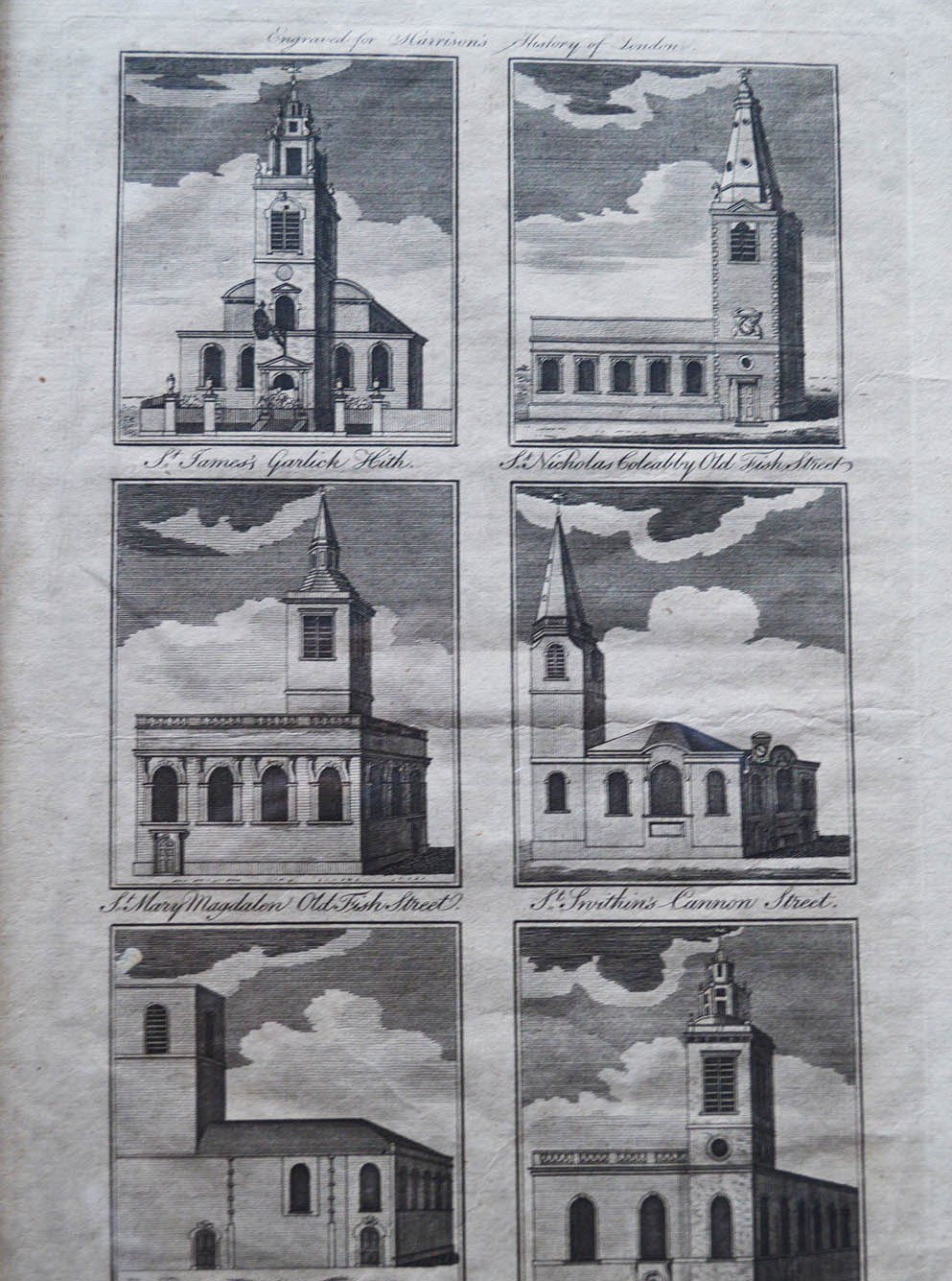 Historic sketch diagram of six churches in the parish including St James Garlickhythe