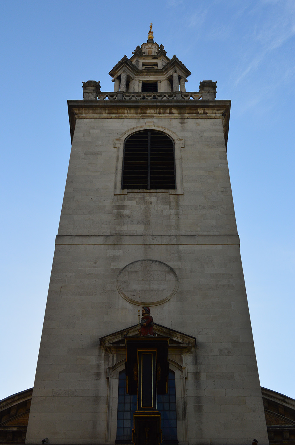Image taken from below pointing up at St James Garlickhythe's Hawksmoor bell tower