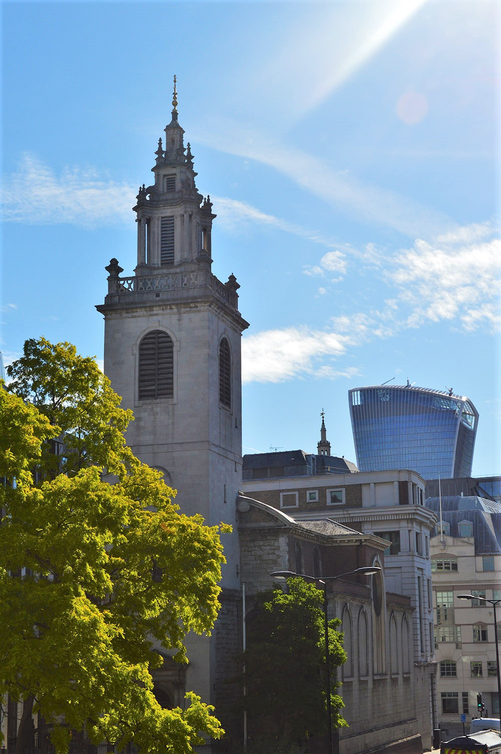 A view of St James Garlickhythe building with the Walkie Talkie in the distance