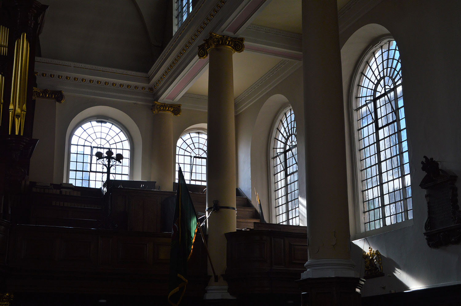 Interior of church with windows and pillars