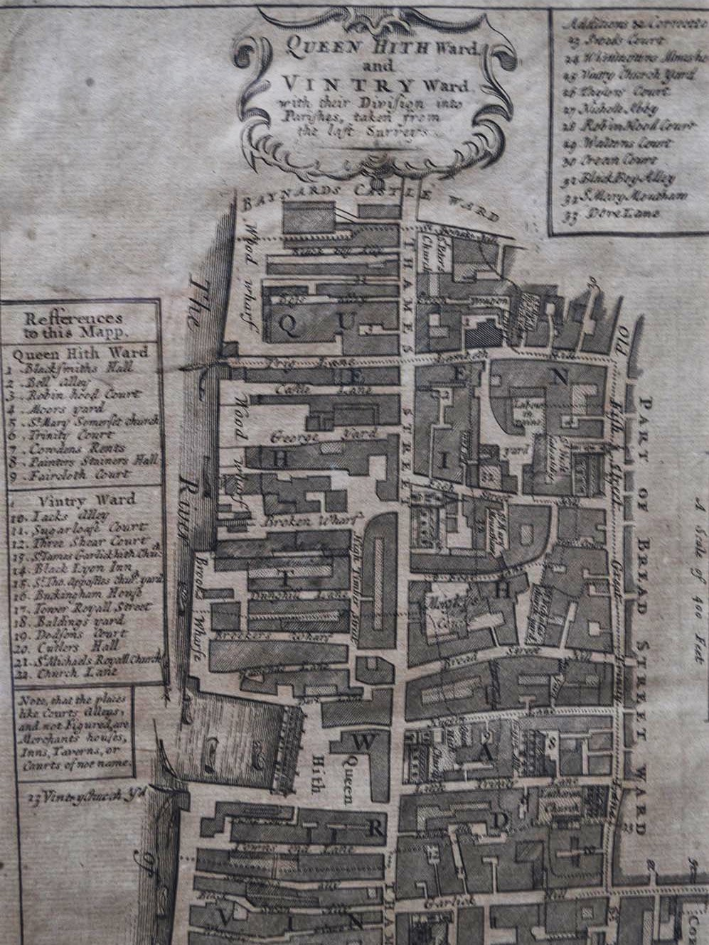 Hand-drawn map of St James Garlickhythe parish from 1754, of the wards of Vintry and Queenhithe