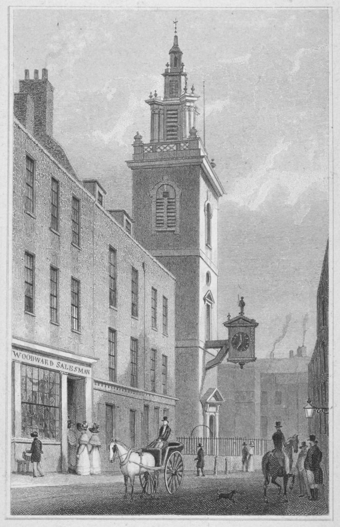 A Georgian sketch of St James Garlickhythe with pedestrians and horse and carriage