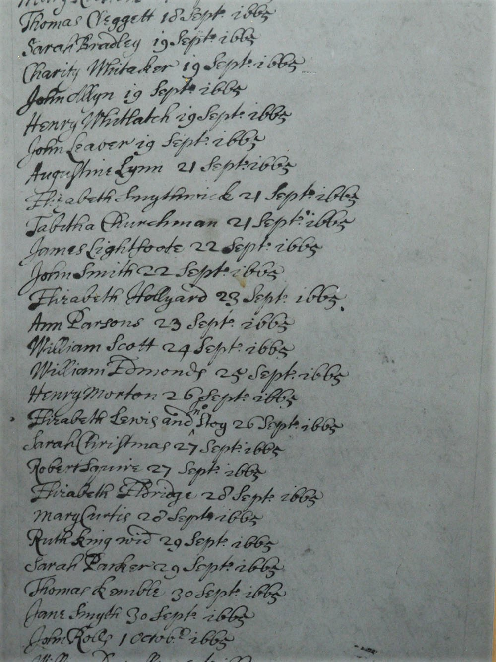 A handwritten page from the 1535 baptism register of St James